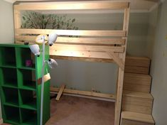 loft bed made by design paired with Ikea kallax shelving unit. Ikea Kallax Shelving, Pine Valley, Diy Bed, How To Make Bed, Raised Beds, Bunk Beds, Playroom, Loft, Hacks