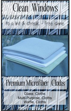 Clean Windows to a lint and streak-free shine. Use only water. Microfiber glass cloths, eco-friendly. Know the difference in quality - better cleaning results. These cloths are recommended by Modern Bulters as a Luxury Provider. www.ultramicrofibers.com (4 for $48)