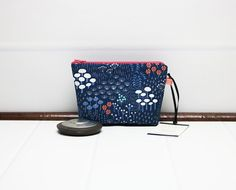 Floral Makeup Bag - Floral Cosmetic Bag - Mini Makeup Pouch - Blue Cosmetic Pouch - Zipper Cosmetic Bag - Fabric Notions Pouch by TalfourdJones on Etsy
