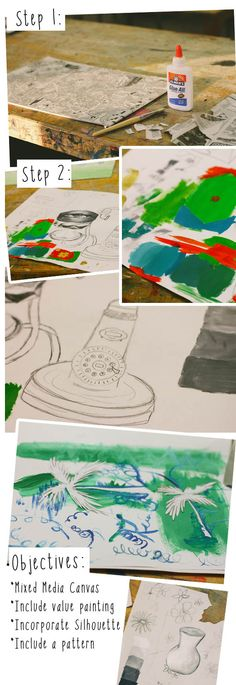 High School Art lesson: Mixed Media Painting [Art II class] Semester 2 final project