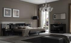 peinture grise, lustre design, tableaux décoratifs et tête de lit noir laqué