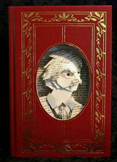 Book sculpture portrait of Mark Twain by Jodi Harvey-Brown. Up Book, Book Of Life, Book Art, Book Sculpture, Sculptures, Sculpture Portrait, King Arthur Book, Pop Up, Mark Twain Books