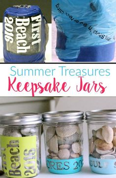 Fun way to store those little vacation treasures in Mason Jar Keepsake jars. Personalize with the place and year and fill will shells or small rocks.