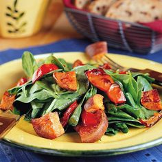 Roasted Sweet Potato Salad: Roast sweet potatoes and red bell peppers together for a delicious mingling of flavors and then place over a bed of spinach or arugula and sprinkle with white balsamic vinegar. Serve this as side dish or add goat cheese and grilled chicken for a satisfying lunch.