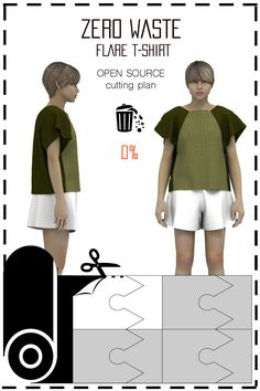 [ FR ] Patronnage zéro déchet conçu pour fabriquer des t-shirts. Le placement est disponible gratuitement (sous licence creative commons) dans différents formats tels que: jpeg, pdf, svg, & dxf.. [ EN ] This is a Zero waste pattern designed to make flare t-shirts. Cutting plan is available for free (under the creative commons licence) in differents formats such as jpeg, pdf, svg, & dxf..
