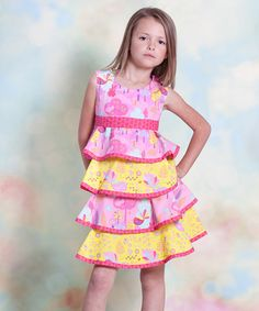 Take a look at this Yellow & Pink Nature Twirl Dress - Infant, Toddler & Girls by Jelly the Pug on #zulily today!