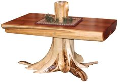 Amish Rustic Cedar Log Coffee Table With Stump