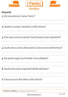 I Fenici: Schede didattiche per la Scuola Primaria   PianetaBambini.it Happy Monday, School, Geo, Vacation, Socialism, Activities, History, Art, Per Diem