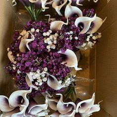 Calla Lilies Wedding Package-Picasso Purple Calla Lilies Silk   Etsy Purple Flower Bouquet, Purple Calla Lilies, Silk Bridal Bouquet, Bridesmaid Bouquet, Purple Flowers, Grey Ribbon, Purple Ribbon, Calla Lily Wedding, Groomsmen Boutonniere