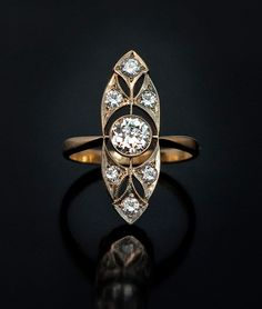 Art Deco Vintage Russian Diamond Gold Ring for Sale | Antique Russian Jewelry Store
