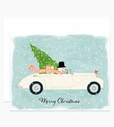"Illustrated by Dear Hancock. A snowman with a top hat driving a classic cream convertible illustrated with snow, a tree and gifts with text that reads ""Merry Christmas""."