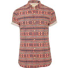 pink fluro aztec print shirt - short sleeve shirts - shirts - men - River Island
