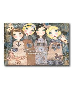 Look what I found on #zulily! 'Sister' Whimsical Girls Wrapped Canvas #zulilyfinds