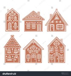 Gingerbread House Set Vector Hand Drawn Stock Vector (Royalty Free) 329387591 - Gifts and Costume Ideas for 2020 , Christmas Celebration Cardboard Gingerbread House, Gingerbread House Designs, Christmas Gingerbread House, Noel Christmas, Christmas Cookies, Christmas Ornaments, Gingerbread Houses, Italian Christmas, Gingerbread Cookies
