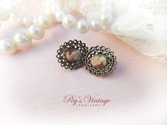 Antique 1940's Delicate Cameo Copper Clip On Earrings by PegsVintageJewellery, $12.00