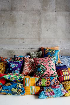 Pillow pile! Wax printed batik pillows from Ghana by Project Bly and many more inspiration from African prints fabric