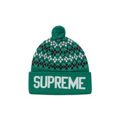 UPSEEN | Supreme Argyle Beanie kelly green ❤ liked on Polyvore