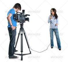 TV reporter presenting the news in studio, isolated on white background (broadcast, broadcasting, camcorder, camera, cameraman, cinema, communication, connection, copyspace, correspondent, digital, electronics, entertainment, female, filming, girl, interview, isolated, journalist, lens, life, light, live, man, media, mic, microphone, modern, movie, news, objective, operator, optic, production, professional, record, reportage, reporter, sp, studio, support, technology, television, tv, video…