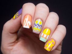 Bunnies, Baskets & Eggs, Oh My! 20 Adorable Easter Nail Art Designs -  Who needs a bonnet? These super-cute Easter nail art designs - from chicks to bunnies to eggs - will be the star of your Sunday...