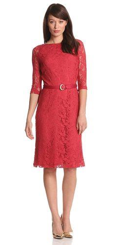 Jones New York Womens Long Sleeve Lace Dress