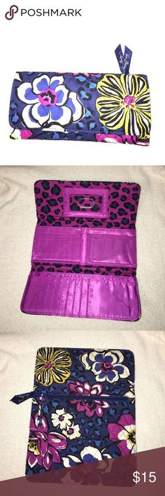 Gently used Vera Bradley Wallet in African Violet Tri-Fold wallet with magnetic closure, 11 card slots, 3 money pockets, and an ID window. Vera Bradley Bags Wallets