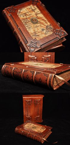 Handmade brown leather journal Pirate's secret book by dragosh