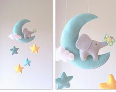 Baby mobile moon mobile moon stars mobile by lovefeltmobiles Star Mobile, Owl Mobile, Elephant Mobile, Baby Girl Bedding, Baby Boy Rooms, Crib Bedding, Baby Bedroom, Mobiles, New Baby Crafts