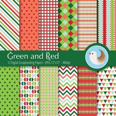 Green and Red Digital Paper  Coral Red and Green by CinnamonDove