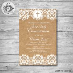 Rustic first communion invitation girl first communion invite boy holy communion…
