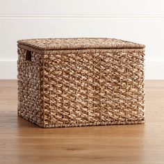 Kelby Large Square Lidded Basket - Crate and Barrel Crate And Barrel, Square Baskets, Large Storage Baskets, Woven Baskets, Storage Bins, Craft Storage, Rattan Basket, Handmade Home Decor, Custom Furniture