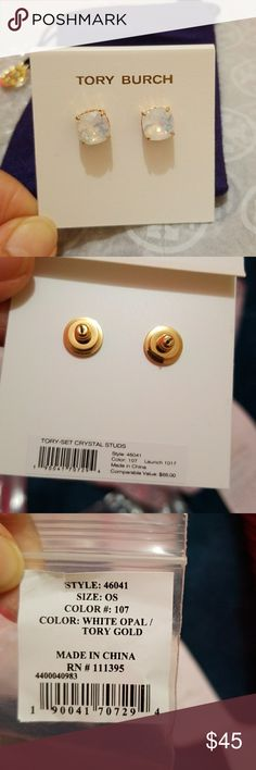 NEW Tory Burch crystal stud earrings New Tory Burch crystal earrings in white opal color/ gold toned.  New and  Never tried on. Dustbag included.AUTHENTIC! Tory Burch Jewelry Earrings