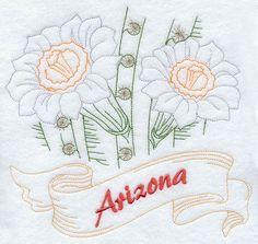 Arizona - Saguaro Cactus Blossom (Redwork)
