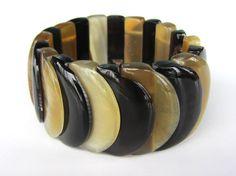 Stretch bracelet link bead beaded black brown by Fineoxjewelry, $12.50