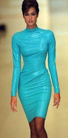 Yasmeen Ghauri  patent leather sheath dress