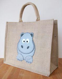 Natural Jute Hessian Animal Large Shopping Bag -  Felt  Hippo Motif by Yellowboots Designs