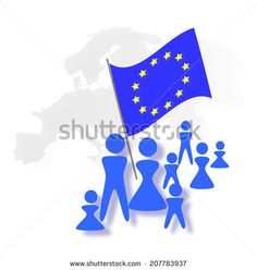 European Flag and People's Icons  - stock photo