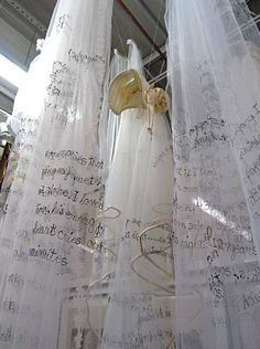 Susan Lenz. I Do/I Don't Installation.  Wedding veils. Machine embroidered phrases taken from interviews about love, marriage and, sometimes, the end of love.