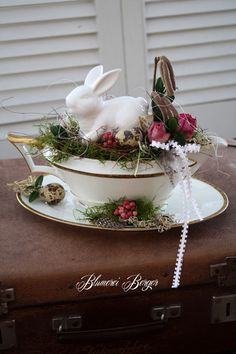 Bunny rabbit in a tea cup / cute Spring / Easter home decorating idea