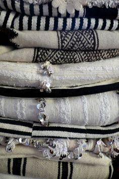 black & white, moroccan textiles