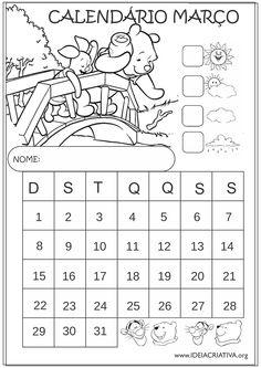 Calendário Março 2015 Ursinho Pooh e Leitão Educação Infantil para Colorir