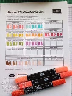 Stampin Up Blendabilities colour sampler chart - pdf download by Di Barnes #colourmehappy #stampinup