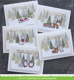 Nichol Spohr Magouirk: Lawn Fawn Fawny Holiday Week | Winter Critters Scene Cards with Vellum Layers