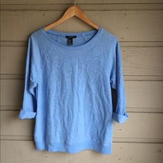 Forever 21 Top Light blue lacy top with 3/4 sleeves.  SO perfect for everyday wear! Excellent condition. Will best fit med-large. Forever 21 Tops