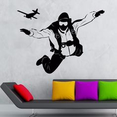 New Sky Diving Sport Wall Art Decor - Boy's Bedroom Wall Decal Decoration , Kid's Wall Sticker - Skydiving Mural , Wallpaper #Affiliate