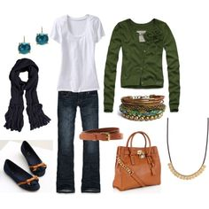 Mom style in Navy and Green. flats, white, tee, cardigan. minus the $300 bag :(