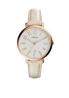 Fossil® Women's Jacqueline White Leather Strap Three-Hand Watch