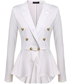 d7ca334e7a31d 2017 Fashion Slim Fit Women Blazer Jackets Womens White Blue Ladies Blazer  Office Jacket Elegant Female Solid Button Plus Size