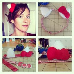 Diy hello kitty costume baby and kiddo pinterest hello kitty diy hello kitty costume headband so need to do this for thing 2 solutioingenieria Gallery