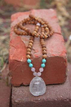 Master Healer Mala - Clear Quartz - Mediation Beads Yoga Inspired BOHO chic / mala beads