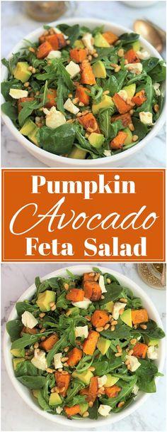 Pumpkin avocado feta salad | a super healthy roast pumpkin / butternut squash sa..., #avocado #butternut #Feta #healthy #Pumpkin #roast #Salad #Squash #Super Spinach Feta Salad, Arugula, Lamb Recipes, Gourmet Recipes, Healthy Salad Recipes, Vegetarian Recipes, Kos, Roast Pumpkin Salad, Feta Salat